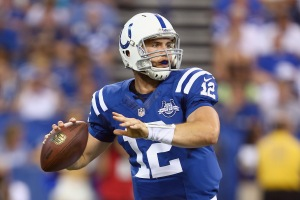 INDIANAPOLIS, IN - SEPTEMBER 08:  Andrew Luck #12 of the Indianapolis Colts throws a pass during the Colts 21-17 win over the Oakland Raiders at Lucas Oil Stadium on September 8, 2013 in Indianapolis, Indiana.  (Photo by Andy Lyons/Getty Images)